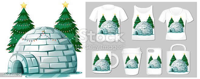 Christmas theme with igloo on many products