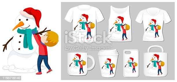 Christmas theme with snowman on many products