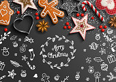 Christmas theme with white chalk doodles and rustic decorations on black background, vector illustration, eps 10 with transparency and gradient mesh.