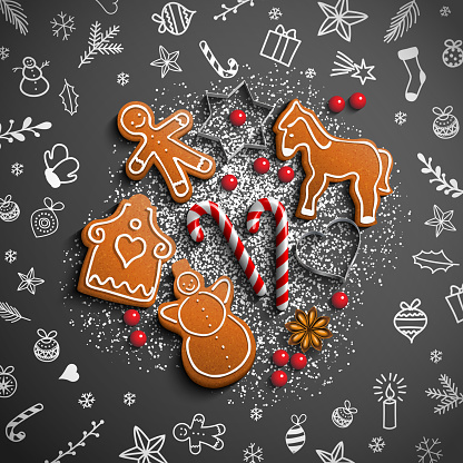 Christmas theme with white doodles and gingerbread