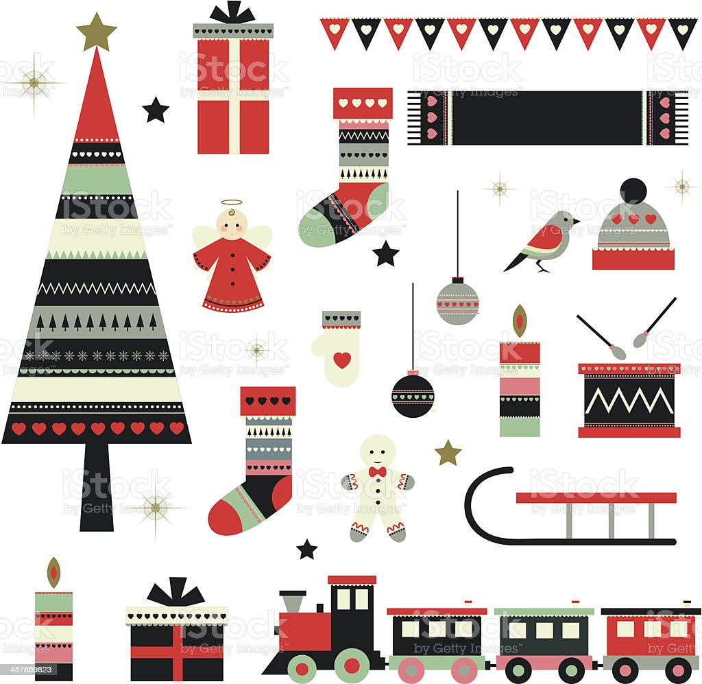 Christmas themed vector image collection vector art illustration