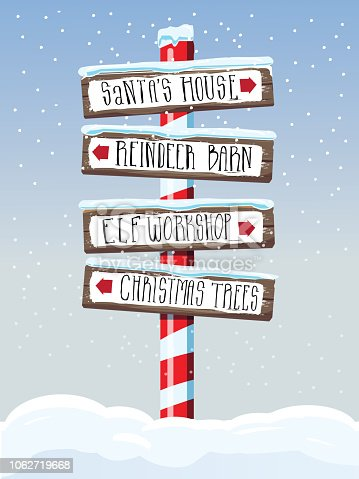 Vector illustration of a Christmas themed wooden winter directional sign with handwriting or hand lettered text. Santa's House, Reindeer Barn, Elf Workshop and Christmas Trees. Easy to edit with layers.