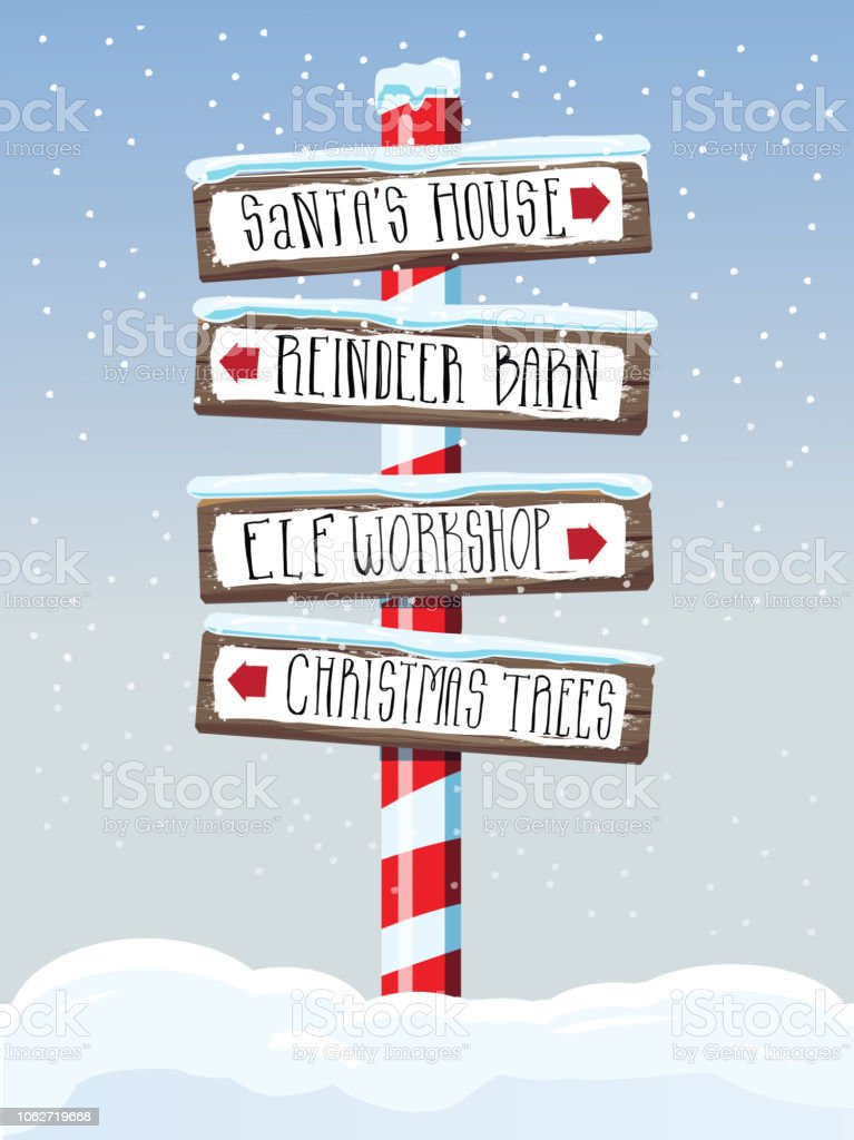 Christmas themed wooden winter sign with hand lettered text vector art illustration
