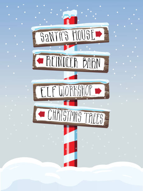Christmas themed wooden winter sign with hand lettered text Vector illustration of a Christmas themed wooden winter directional sign with handwriting or hand lettered text. Santa's House, Reindeer Barn, Elf Workshop and Christmas Trees. Easy to edit with layers. north pole stock illustrations