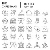 Christmas thin line icon set. Holiday and new year collection, vector sketches, logo illustrations, web symbols, linear pictograms package isolated on white background, eps 10