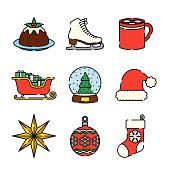 A set of 25 color thin line Christmas  icons. File is built in the CMYK color space for optimal printing, and can easily be converted to RGB. Color swatches are global for quick and easy color changes throughout the entire set of icons.