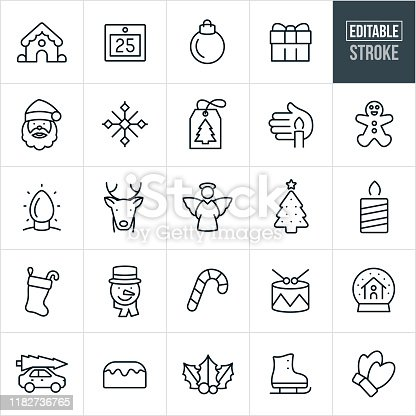A set of solar Christmas icons that include editable strokes or outlines using the EPS vector file. The icons include a gingerbread house, calendar, Christmas ornament, gift, Sant Claus, snowflake, gift tag, candle, gingerbread man, Christmas lights, reindeer, angel, Christmas tree, Christmas stocking, snowman, candy cane, drums snow globe, bun cake, holly, ice skate and mittens to name a few.