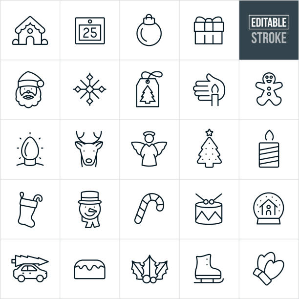 Christmas Thin Line Icons - Editable Stroke A set of solar Christmas icons that include editable strokes or outlines using the EPS vector file. The icons include a gingerbread house, calendar, Christmas ornament, gift, Sant Claus, snowflake, gift tag, candle, gingerbread man, Christmas lights, reindeer, angel, Christmas tree, Christmas stocking, snowman, candy cane, drums snow globe, bun cake, holly, ice skate and mittens to name a few. christmas icons stock illustrations