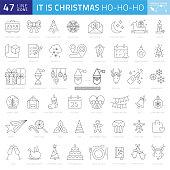 Christmas Thin Line Icons - Editable Stroke