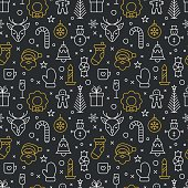 Christmas thin line icons seamless pattern design