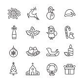 Christmas Thin line Icons, Set of 16 editable filled, Simple clearly defined shapes in one color.
