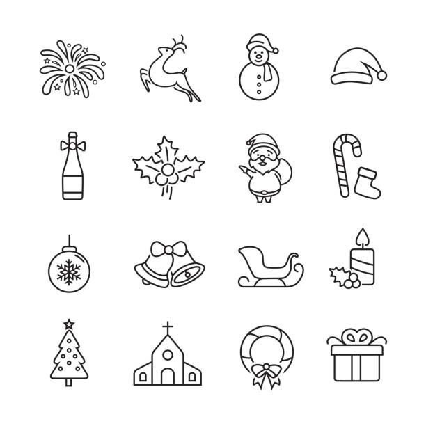 Christmas Thin line Icons Christmas Thin line Icons, Set of 16 editable filled, Simple clearly defined shapes in one color. christmas icons stock illustrations