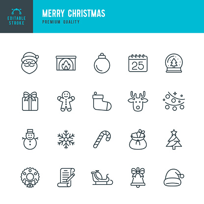 Christmas - thin line vector icon set. Editable stroke. Pixel Perfect. Set contains such icons as Santa Claus, Christmas, Gift, Reindeer, Christmas Tree, Snowflake.