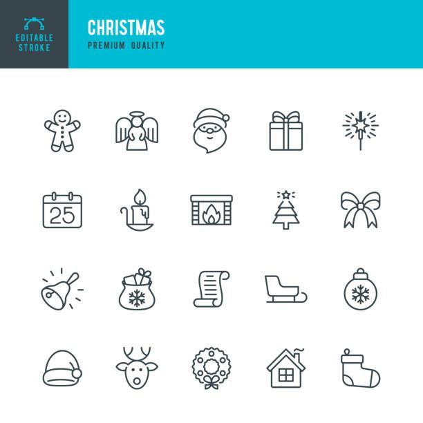 christmas - thin line vector icon set. editable stroke. pixel perfect. set contains such icons as santa claus, christmas, gift, reindeer, christmas tree, snowflake, calendar. - holiday season stock illustrations