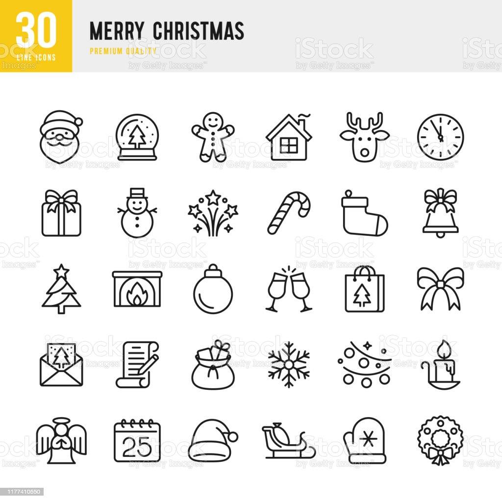 Natal-linha fina jogo do ícone do vetor. Pixel perfeito. O jogo contem tais ícones como Papai Noel, Natal, presente, Rena, árvore de Natal, floco de neve. - Vetor de Acariciando royalty-free
