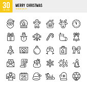 Christmas - thin line vector icon set. 30 linear icon. Pixel Perfect. Set contains such icons as Santa Claus, Christmas, Gift, Reindeer, Christmas Tree, Winter, Fireworks, Snowflake, Calendar.