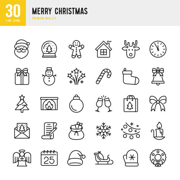 Christmas - thin line vector icon set. Pixel Perfect. Set contains such icons as Santa Claus, Christmas, Gift, Reindeer, Christmas Tree, Snowflake. Christmas - thin line vector icon set. 30 linear icon. Pixel Perfect. Set contains such icons as Santa Claus, Christmas, Gift, Reindeer, Christmas Tree, Winter, Fireworks, Snowflake, Calendar. christmas icons stock illustrations
