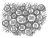 Christmas Time Advent Calendar Numbers In Circles Drawing