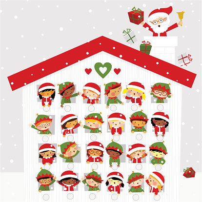 Christmas time cute kids elf santaclaus present gift snow calendar