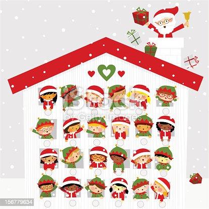 istock Christmas time cute kids elf santaclaus present gift snow calendar 156779634