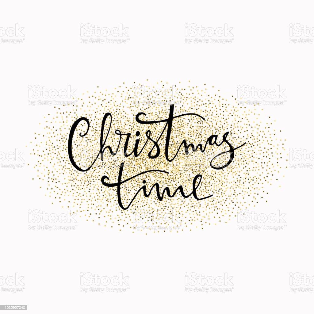 Ilustración de Navidad Tiempo Dibujado A Mano Letras Con