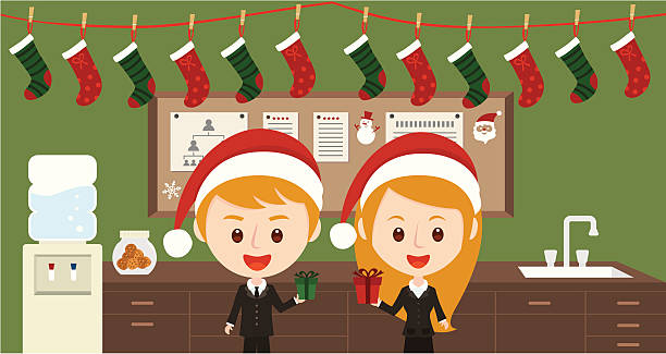weihnachtszeit in business-büro - firmenweihnachtsfeier stock-grafiken, -clipart, -cartoons und -symbole