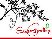 Season's greetings card with a rosehip branch silhouette