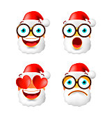 Christmas Time! Set of High Quality Cute Santa Claus on White Background
