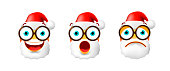 Christmas Time ! Set of Santa Claus Emoticons on White Background . Isolated Vector Illustration