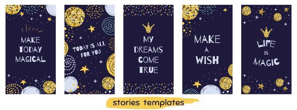 weihnachtszeit geschichte templateset social media vertikale banner set mit zitaten leben magie niedlichen design - storytelling grafiken stock-grafiken, -clipart, -cartoons und -symbole