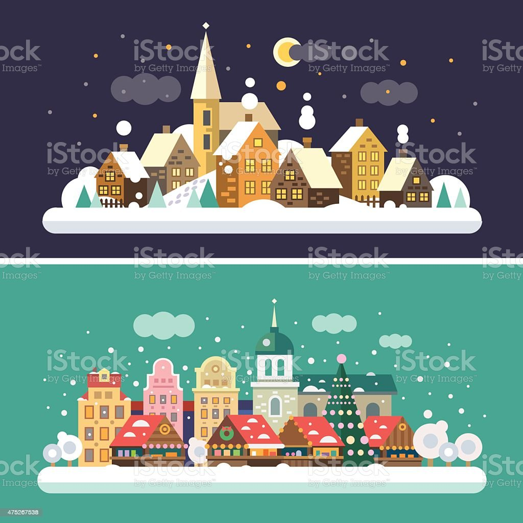 Christmas time. Urban and Village vector art illustration