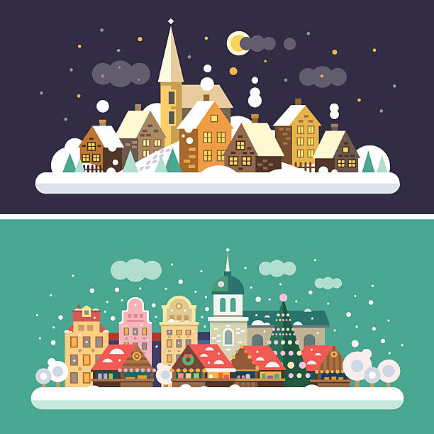 Christmas time. Urban and Village Christmas time. Urban and Village landscapes. Christmas market in the square. Vector flat illustrations village stock illustrations