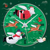 vector illustration of winged santa claus and friends flying…