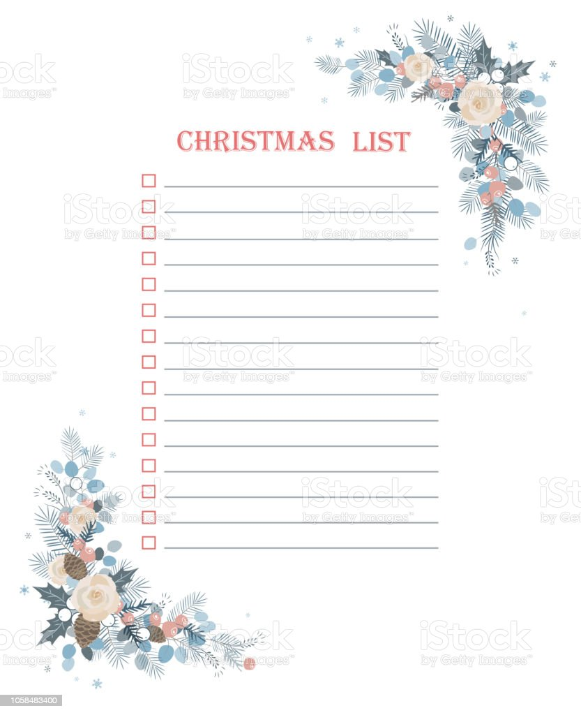 christmas to do checklist with froral corner frame decoration