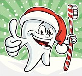 Vector Illustration of a festive Christmas tooth holding a 'candy cane' striped toothbrush. File saved in layers for easy editing.