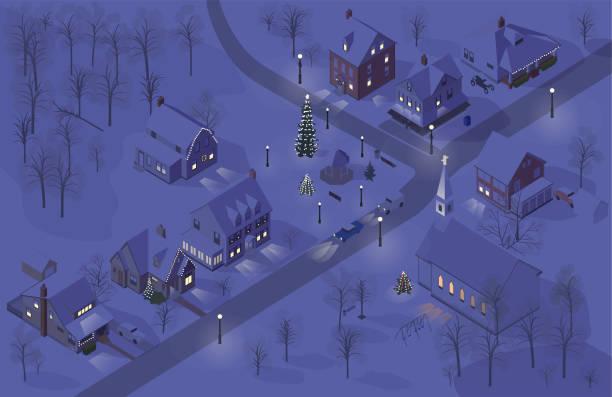 Christmas town illustration vector art illustration