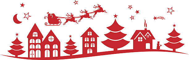 Town Landscape Vector Illustration: Royalty Free Silhouette Of Santa In His Sleigh Clip Art