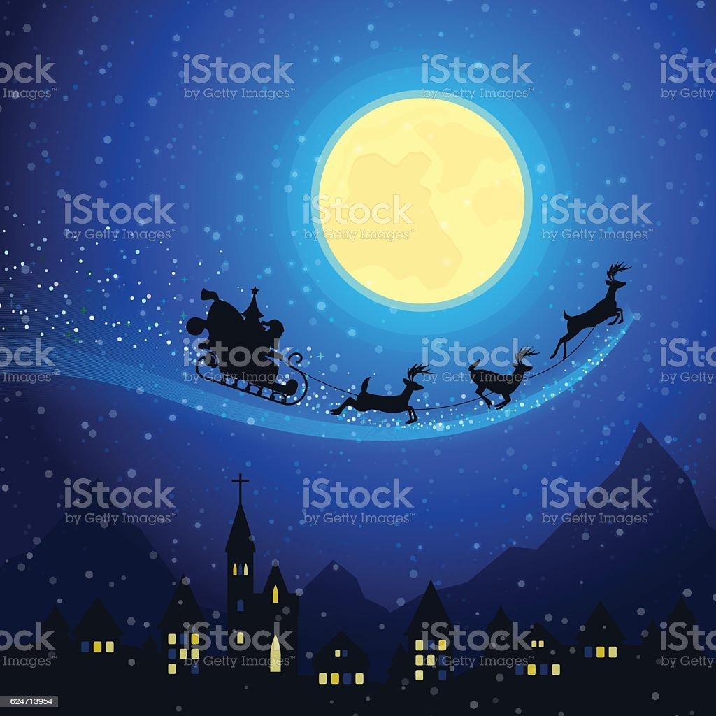 Christmas Town Mountain Landscape with Santa Claus Sleigh vector art illustration