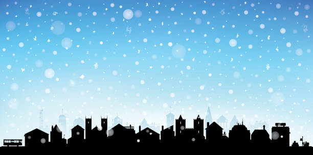 Christmas Town (Each Building is Moveable and Complete) vector art illustration