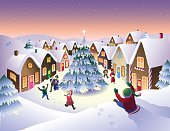 Winter snow scene in fantasy Christmas village.