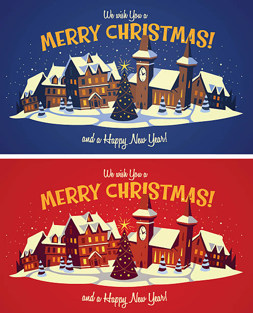 christmas town - köy stock illustrations
