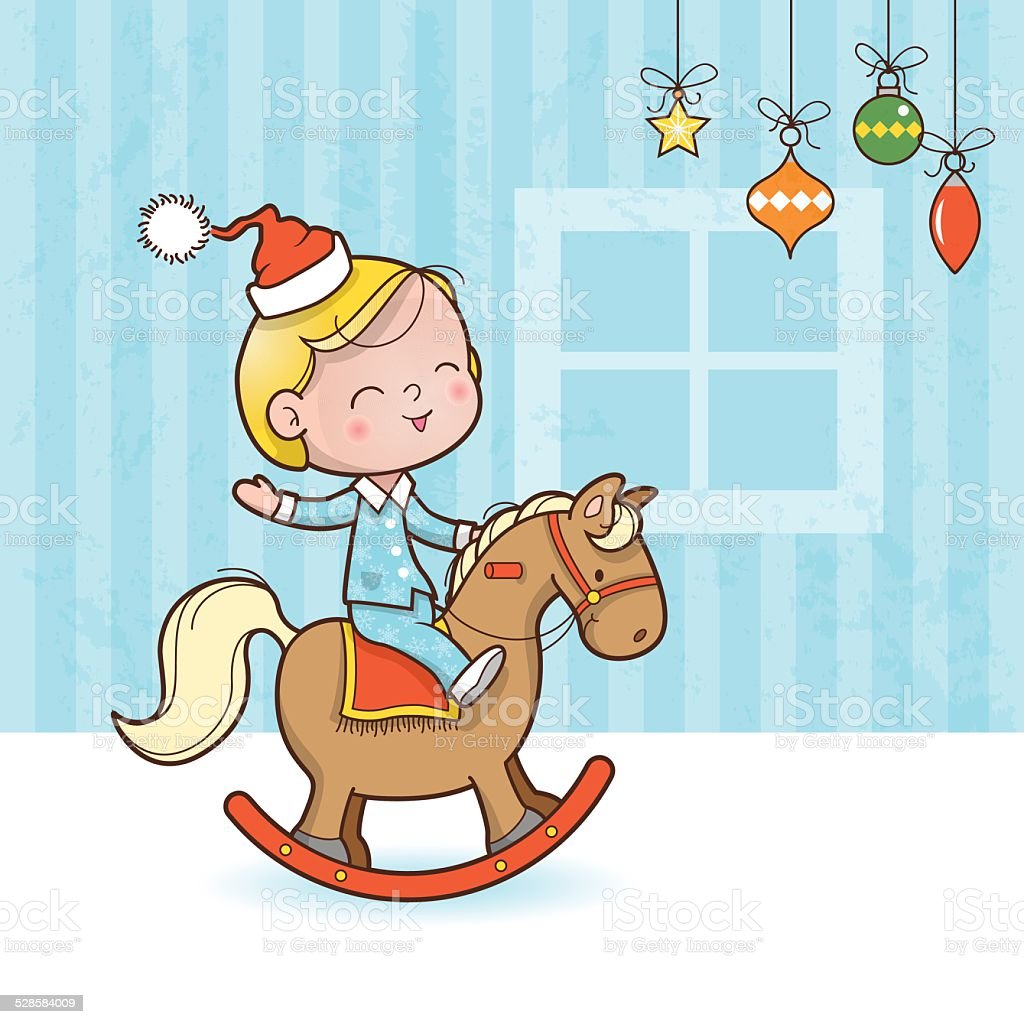 Christmas toy horse vector art illustration