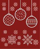 Christmas toys and snowflakes
