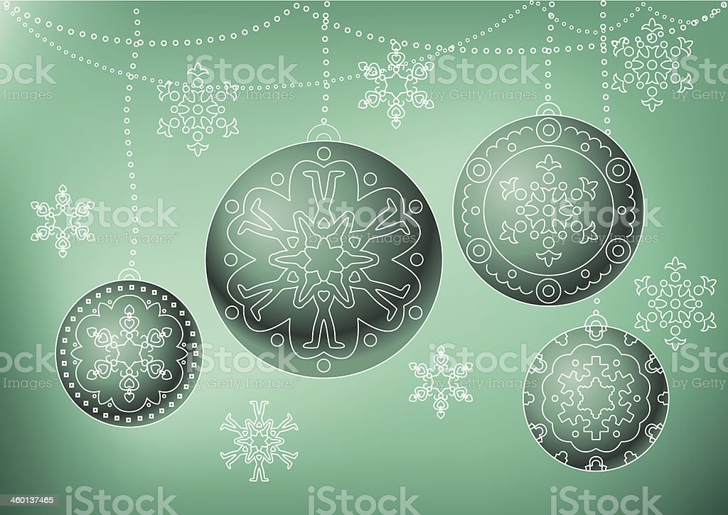 Christmas toys and snowflakes vector art illustration