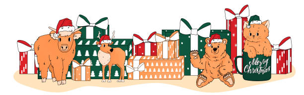 christmas toys are in santa hat near new year gifts. cow, cat, deer, bear have peach colour - lunar new year stock illustrations