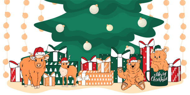 christmas toys are near green christmas tree. bear, cat, deer, cow are in santa hats. cat is in the cup and has peach colour - lunar new year stock illustrations