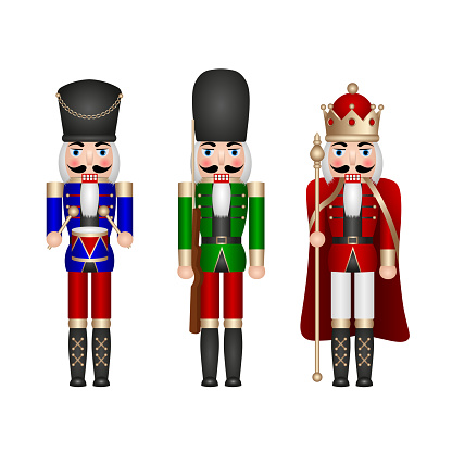 christmas toys. set of isolated nutcracker soldiers.