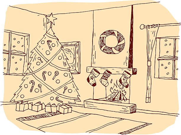 Christmas Fireplace Scene Clipart.Best Drawing Of A Christmas Fireplace Scene Illustrations