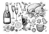 Christmas traditional food and drink set. Holiday treats vector drawing. New Year festive sweets. Mulled wine, turkey,