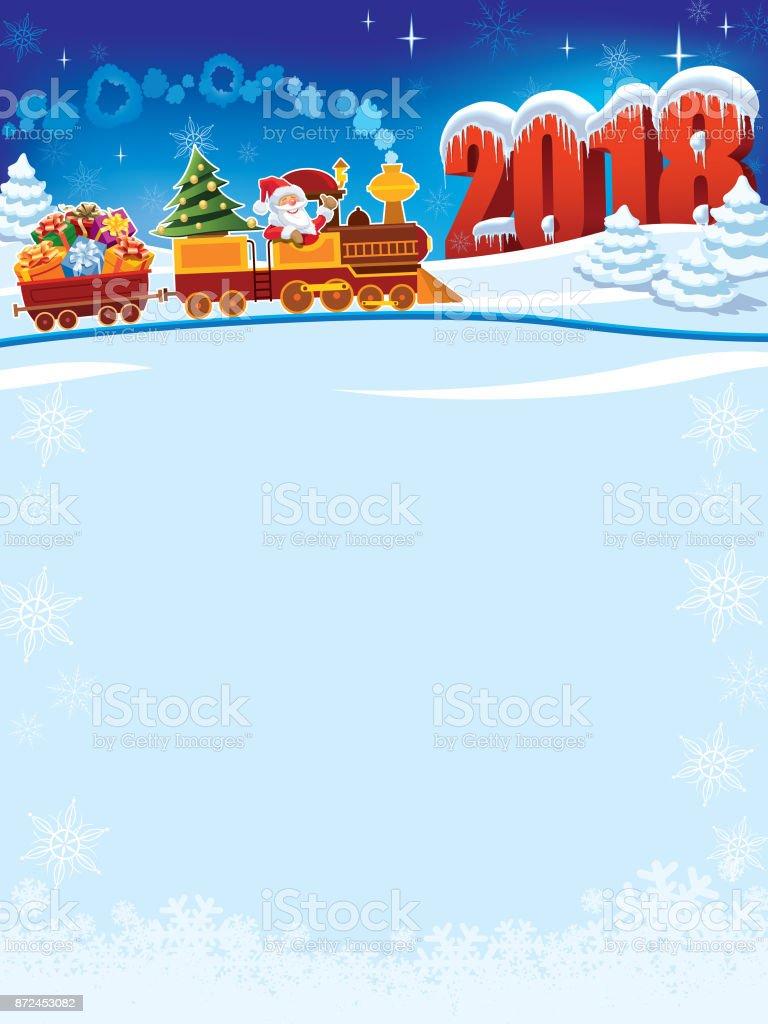 Christmas train to 2018 vector art illustration